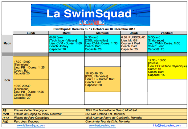 Horaires SS Octobre 2015